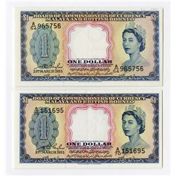 Board of Commissioners of Currency, Malaya and British North Borneo, 1953 Banknote Pair.