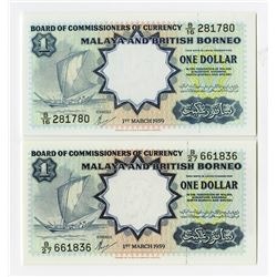 Board of Commissioners of Currency, Malaya and British North Borneo, 1959 Banknote Pair.