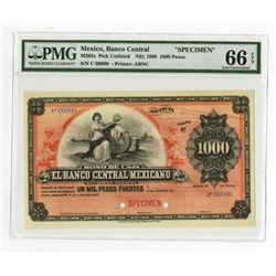 Banco Central Mexicano, ca.1903, 1000 Pesos, Specimen Bono De Caja