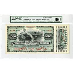Bono De Caja, El Banco Comercial Refaccionario De Chihuahua 1907 Specimen Banknote.