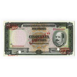 Banco Nacional Ultramarino Moambique, 1958 Specimen Banknote.