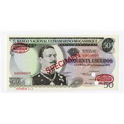 Banco Nacional Ultramarino Moambique, 1970 Specimen Banknote.