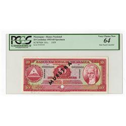 Banco Nacional De Nicaragua Serie de 1959, Specimen Banknote.