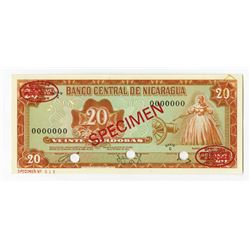 Banco Central de Nicaragua, 1972 Specimen Banknote.