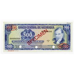 Banco Central de Nicaragua, 1978 Specimen Banknote.