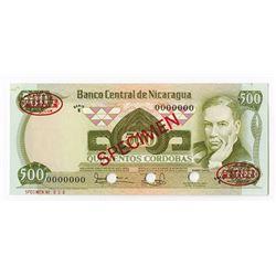 Banco Central de Nicaragua, 1979 Specimen Banknote.