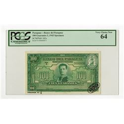 Banco Del Paraguay, L.1943 Specimen Banknote.