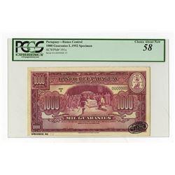Banco Del Paraguay, L.1952 Specimen Banknote.