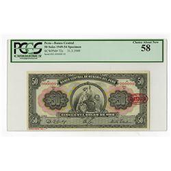Banco Central DeDe Reserva Del Peru, 1949 Specimen Banknote.