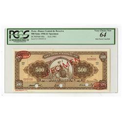 Banco Central DeDe Reserva Del Peru, 1961 Specimen Banknote.
