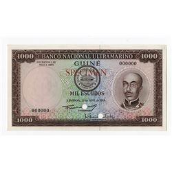 Banco Nacional Ultramarino, 1964 Specimen Banknote.