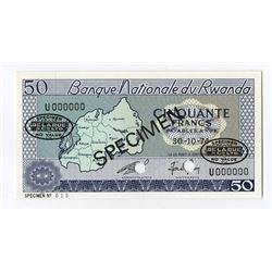 Banque Nationale du Rwanda, 1974 Specimen Banknote.