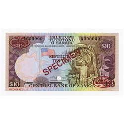 Central Bank of Samoa, ND (1985) Specimen Banknote.