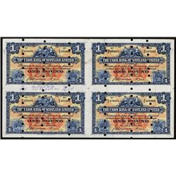 Union Bank of Scotland, Ltd, Archival Specimen, 1924 Issue Uncut Sheet of 4.