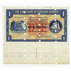 Union Bank of Scotland Limited, 1951 Specimen Banknote.