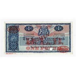 British Linen Bank, 1963 Specimen Banknote.