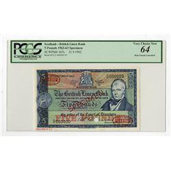 British Linen Bank, 1962 Specimen Banknote.