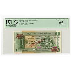Clydesdale Bank Limited, 1963 Specimen Banknote.