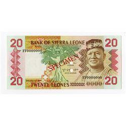 Bank of Sierra Leone, 1984 Specimen Banknote.