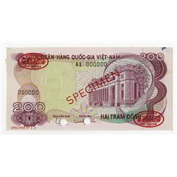 National Bank of Viet Nam, ND (1970) Specimen Banknote.