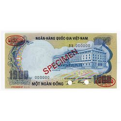 National Bank of Viet Nam, ND (1972) Specimen Banknote.