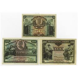 Banco de Espana. 1906-1907. Trio of Issued Notes.