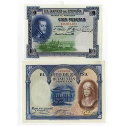 Banco de Espana. 1925-1927. Pair of Issued Notes.