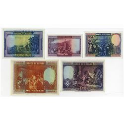 Banco de Espana. 1928. Quintet of Issued Notes.