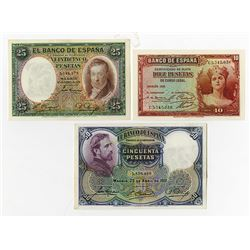Banco de Espana. 1931-1935. Trio of Issued Notes.