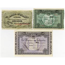 Banco de Espana - Bilbao & Santander. 1936-1937. Trio of Issued Notes.