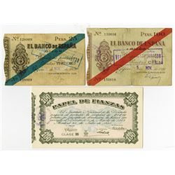 Banco de Espana Gijon & Papel de Fianzas. 1936-1959. Trio of Issued Notes.