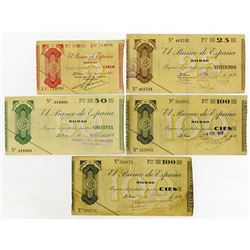 Banco de Espana. 1936. Quintet of Issued Notes.