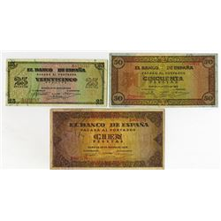 Banco de Espana. 1938. Group of 7 Issued Notes.