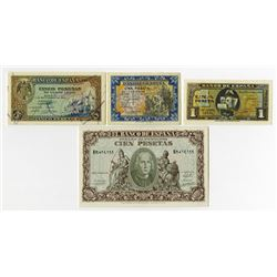 Banco de Espana. 1940. Quartet of Issued Notes.