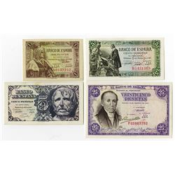 Banco de Espana. 1945-1947. Quartet of Issued Notes.