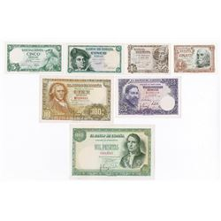 Banco de Espana. 1948-1954. Group of 7 Issued Notes.