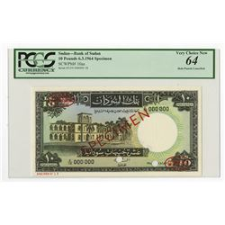 Bank of Sudan, 1964 Specimen Banknote.