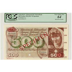 Banque Nationale Suisse, ND (1961-74) Specimen Banknote.