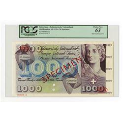 Banque Nationale Suisse, ND (1954-74) Specimen Banknote.