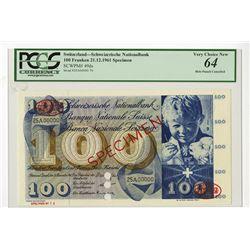Banque Nationale Suisse, 1961 Specimen Banknote.