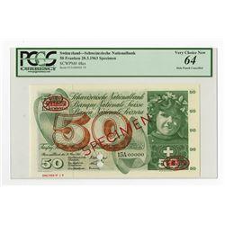 Banque Nationale Suisse, 1963 Specimen Banknote.