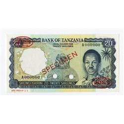 Bank of Tanzania, ND (1966) Specimen Banknote.