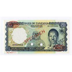 Bank of Tanzania, ND (1966) Specimen Banknote.