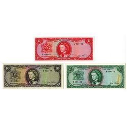 Central Bank of Trinidad and Tabago, L.1964 Banknote Trio.