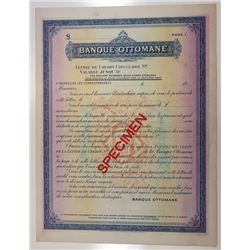 Banque Ottomaine, 1900-1910 Specimen Letter of Credit Limited to 1000 Pounds Sterling.