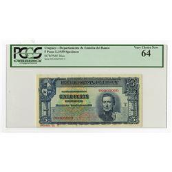 Republica Oriental Del Uruguay, L.1939 Specimen Banknote.