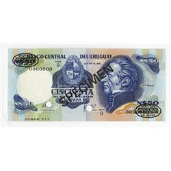 Banco Central del Uruguay, ND (1978-1987) Specimen Banknote.