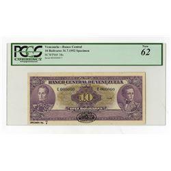 Banco Central De Venezuela, 1952 Specimen Banknote.