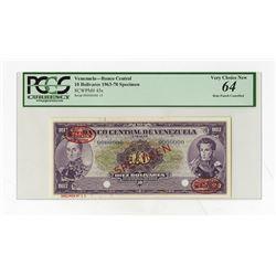 Banco Central De Venezuela, 1963-70 Specimen Banknote.