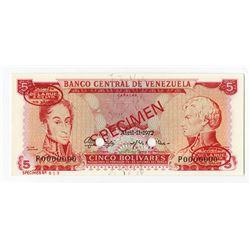 Banco Central de Venezuela, 1972 Specimen Banknote.